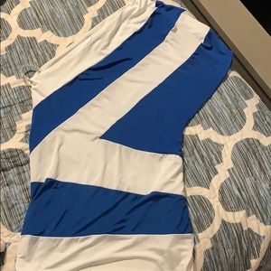 Blue and white one shoulder top